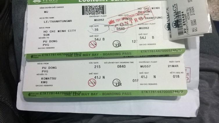 Vé máy bay ban đầu đến Komatsu, có quá cảnh Thượng Hải