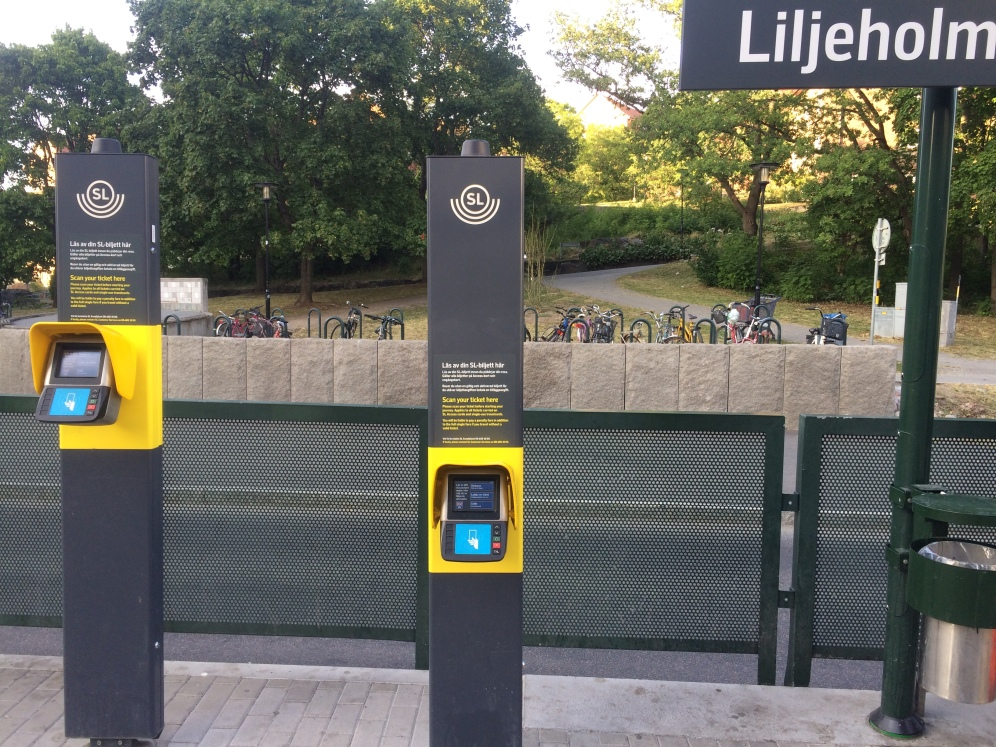 This is a typical machine to scan your ticket to use a tram.